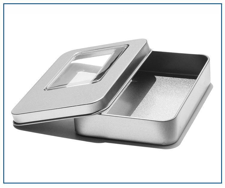 11.5x8.5x2.2cm Tin Behälter-Aufbewahrungsbehälter Rechteck Metall-Boxen mit Fenstern Verpackung Transparent Geschenke für Schmuck-Karte Süßigkeit