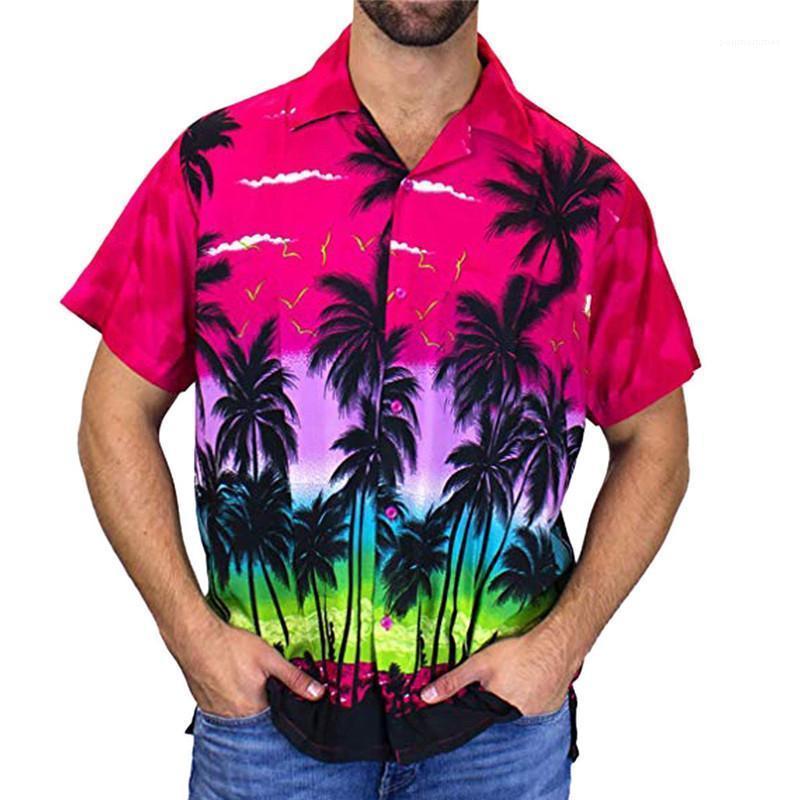 Imprimir Férias de Verão roupas de grife de secagem rápida Homme camisas ocasionais Styles Havaí Mens camisa da praia de coco