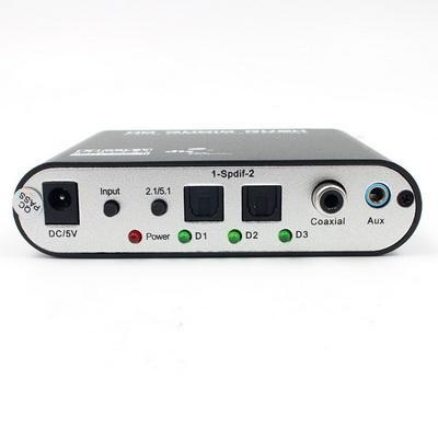 by dhl or ems 20pcs HD 5.1 Audio Decoder AC3 Optical to Stereo Surround Analog Rush Player Decoder Adapter and cable