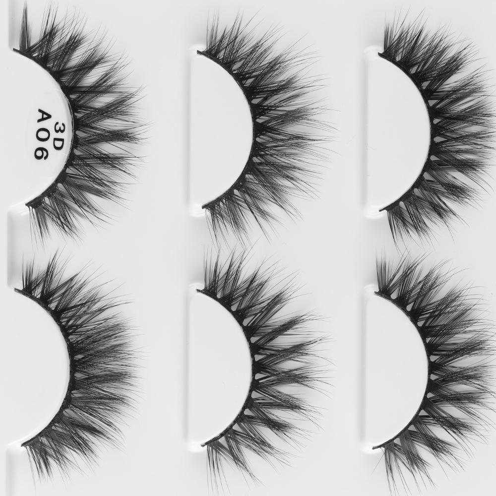 3 pares Reutilizable 3d Grueso Cruz Grueso Largas Falsas Pestañas Voluminoso Wispy Handmade Eye Lashes Extensión Maquillaje Herramientas