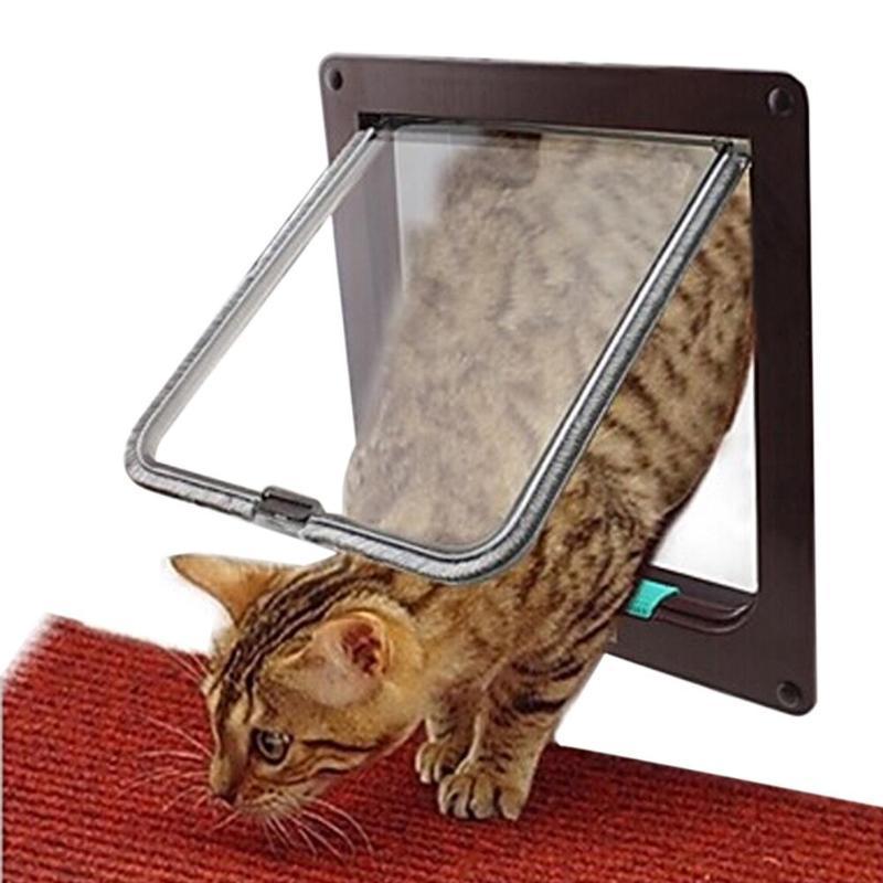 4 Yönlü Kilitlenebilir Köpek Kedi Yavrusu Kapı Güvenlik Flap Kapı ABS Plastik S / M / L Hayvan Küçük Hayvan Kedi Köpek Kapısı Kapı Pet Malzemeleri