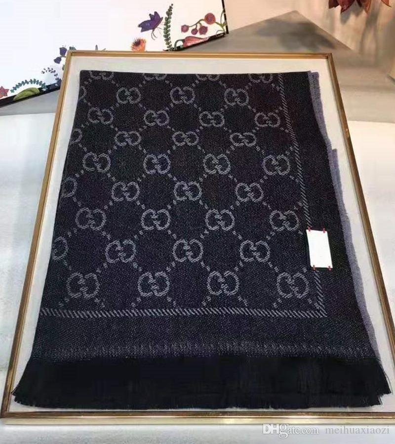 Горячие фирменные женщины жаккардовый узор вязаный шарф дизайнер мужчины письмо бахрома края шерстяные шарфы четыре цвета