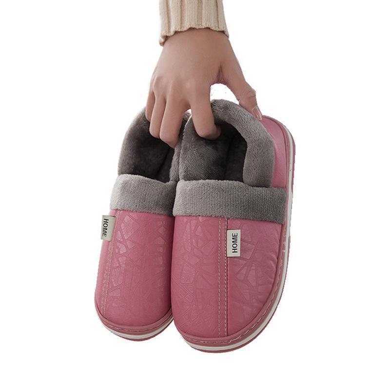Plataforma zapatillas de piel falsa piel de las mujeres de invierno Inicio deslizadores planos de zapatos de moda mullido Diapositivas zapatos de las señoras de las mujeres Calzado T200117