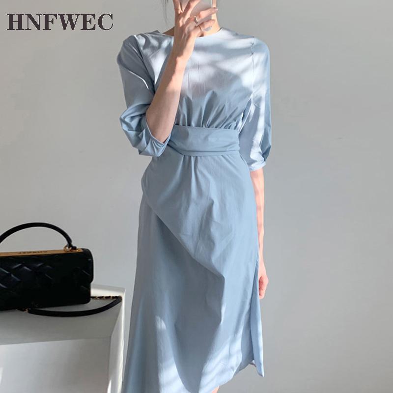 Mode Femmes de robe coréenne-Style D'Été Nouveau 2020 Dames Robe Col Rond Coton Manches Bouffantes Femmes Vêtements V855