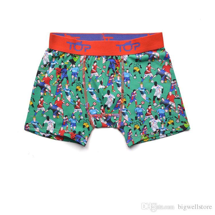 Spanien marke jungen fußball muster stamm boxer kinder shorts kind höschen reine baumwolle hosen kinder unterwäsche teenager slip 5 stück / lot