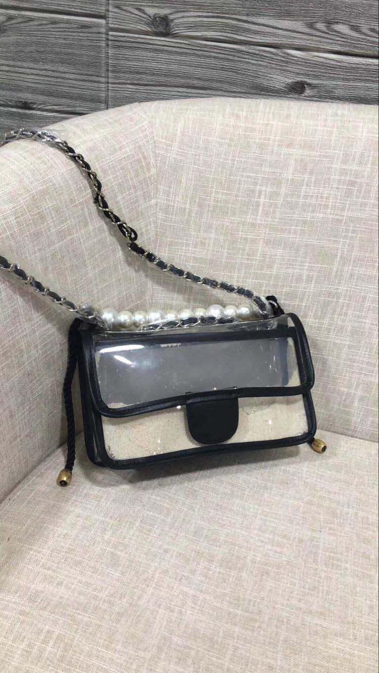 Free shipping New European black pearl pvc Ladies shoulder bag Handbag Shoulder handbag pure nice quality for female giltter