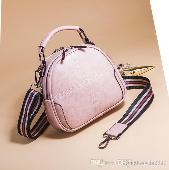 2019 yeni rahat küçük yuvarlak çanta moda basit omuzdan askili çanta vahşi deri bayanlar cep Messenger bagPink
