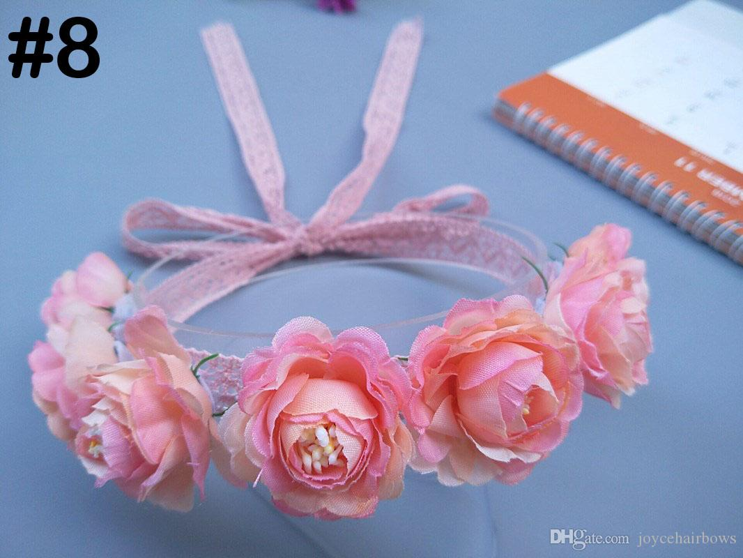 envío 50pcs vendas de la flor del cordón de arcos de flores accesorios para el cabello pelo de la muchacha de flor diadema bebé