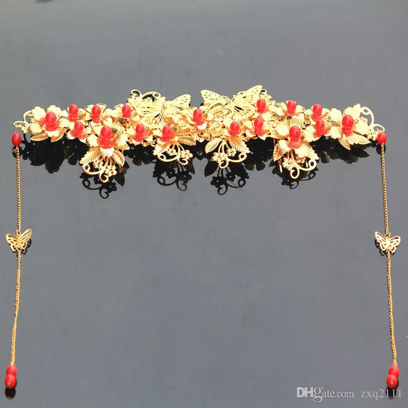 A piece Chinese traditional women new fashion hair crown vintage jewelry bride wedding hairpin band flower festival gift