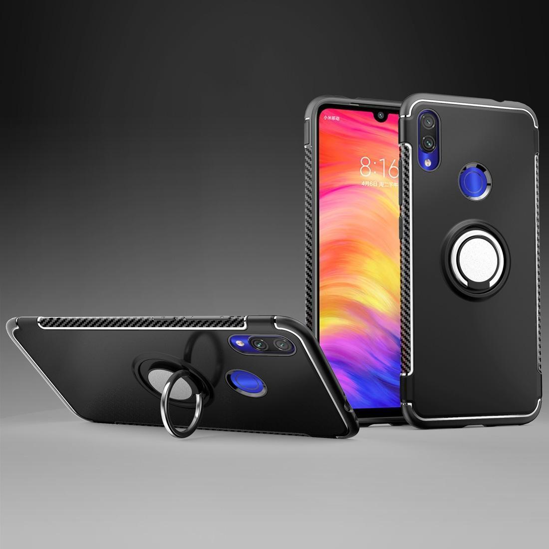 360 Derece Dönme Halka Tutucu ile Xiaomi redmi Not 7 için Manyetik Zırh Koruyucu Kılıf,
