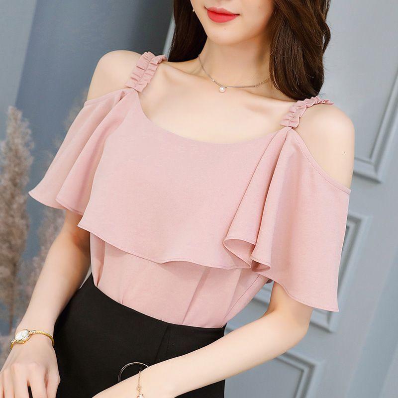 Designer Tops Bluse Frauen-Sommer-Mode Frauen Kurzarm Bluse weg Schulter-Shirts Sexy Frauen Tops und Blusen Rosa-weiße Bluse