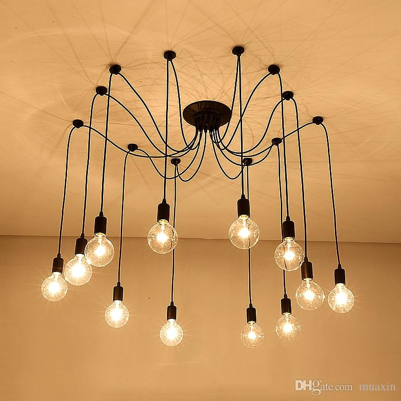 Chandelier DIY Art Aranha lâmpada do teto Dispositivo elétrico claro Hanging Mordern Nordic Retro Edison Lâmpada Vintage Loft suspensão antigas