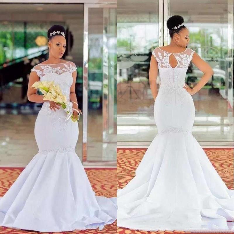 2019 Sheer шеи русалка свадебные платья с кружевной аппликацией покрыты рукавами африканские свадебные свадебные платья длинные подметают атласное платье трубы