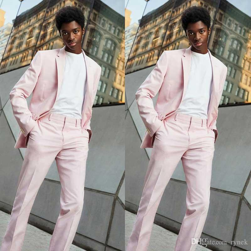 Latest Design Pink Prom Party Men Suits for Wedding Suits for Man Blazer Groom Tuxedos 2 Piece Terno Masculino Evening Party Costume Homme