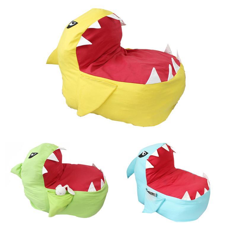 القرش الحيوان الكرتون حقيبة التخزين الإبداعية الحديثة محشوة تخزين الفول حقيبة كرسي المحمولة الاطفال الملابس لعبة أكياس التخزين LE352-U