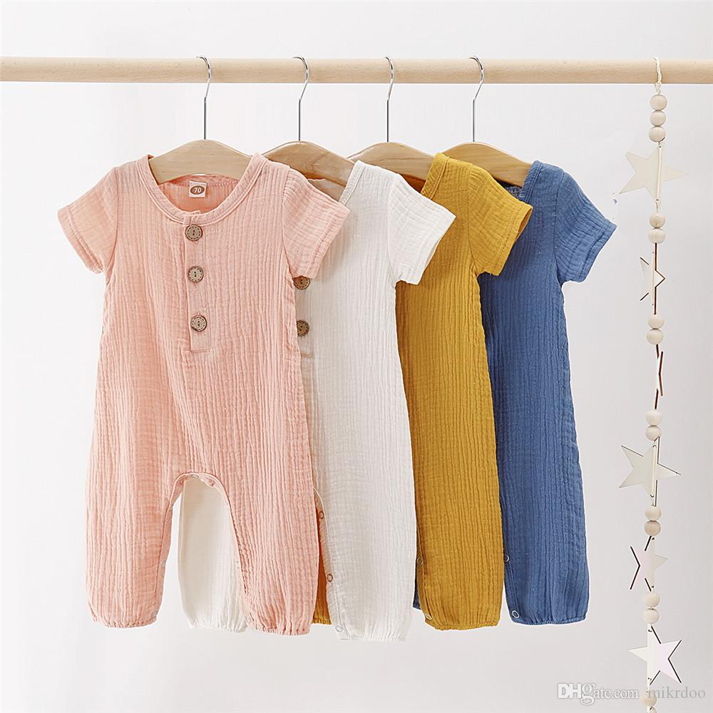 Mikrdoo 2019 Chegada Nova Criança Bebé recém-nascido Bodysuit algodão de manga curta cor sólida Romper Roupa