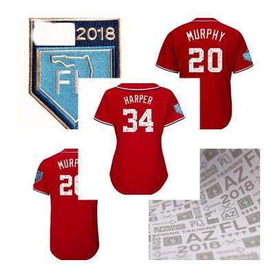 2018 Spring Training Вашингтон 34 Bryce Harper 20 Даниэль Мерфи Red Blank женщин людей Дети пользовательских Coolbase Flexbase бейсбола трикотажных изделий