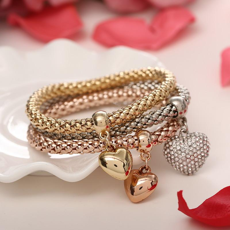 3Pcs/lot Gold Filled Heart Charm Elastic Bracelets For Women Pulseras Bracelet Cute Multilayer Bangles Pulseira Feminina