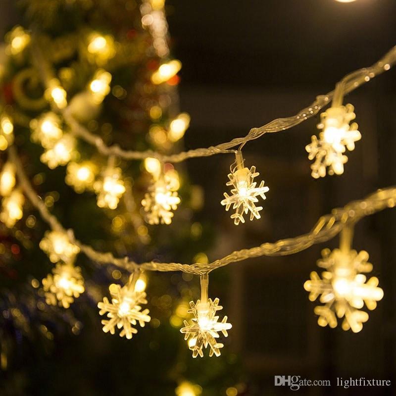 LED Kar Tanesi Dizeleri Pille Powered LED Noel Kar Tanesi Işıkları Dize Ev Bahçe Düğün Festivali Işıkları