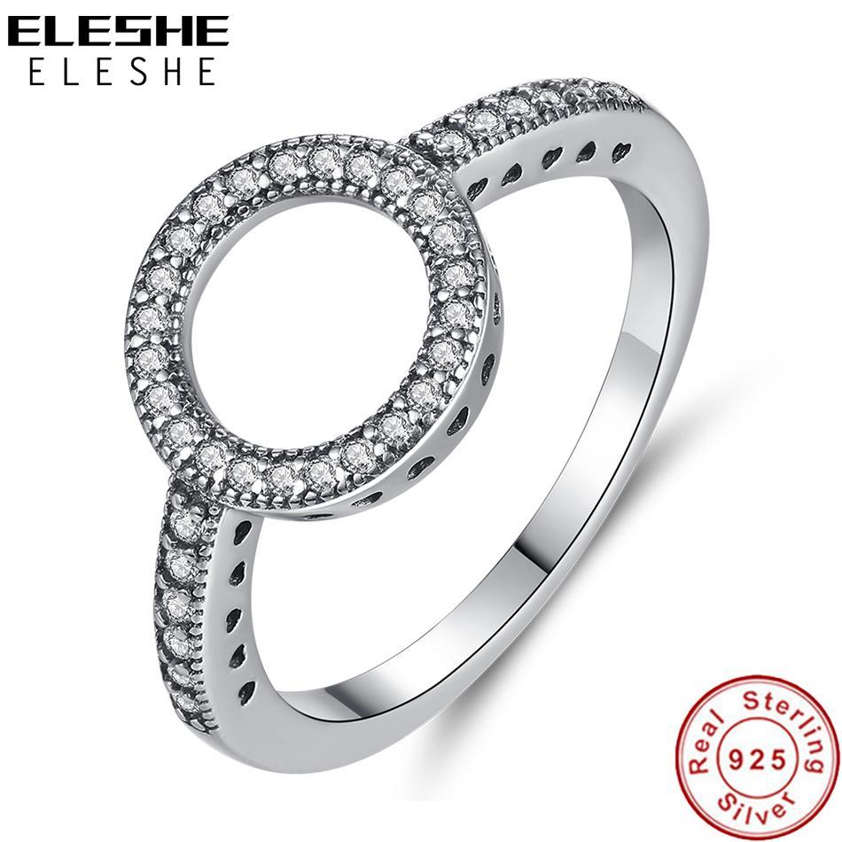 ELESHE Vintage 925 anneaux en argent sterling pour toujours Zircon CZ Cercle ronde Bague pour femmes Mesdames Bijoux de mariage