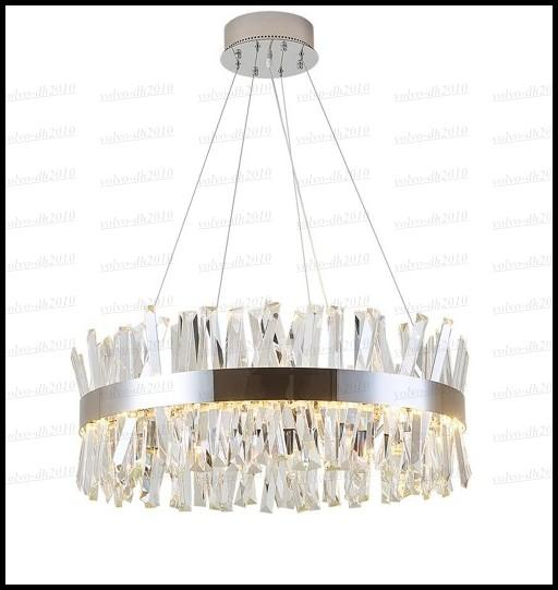 Lusso rotondo design di cristallo Lampadari di illuminazione a sospensione lampade Modern Luxury sala da pranzo Soggiorno Luci Cromo Lampada LED LLFA