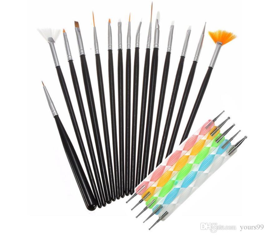 20PCS 네일 아트 디자인 브러쉬 키트 브랜드의 새로운 네일 젤 폴란드어 예술 스타일링 아크릴 브러쉬 세트 네일 아트 살롱 도팅 펜 도구를 Epacket 회화