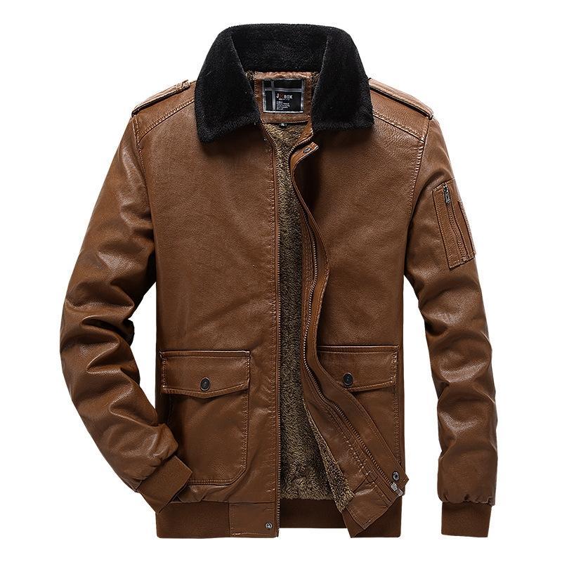 Faux de fourrure pour hommes Faux 2021 hiver PU en cuir vestes en polaire décontracté Plus Velvet Manteau chaud Colar Collier Taille de la taille de l'UE Vêtements de marque, 1881