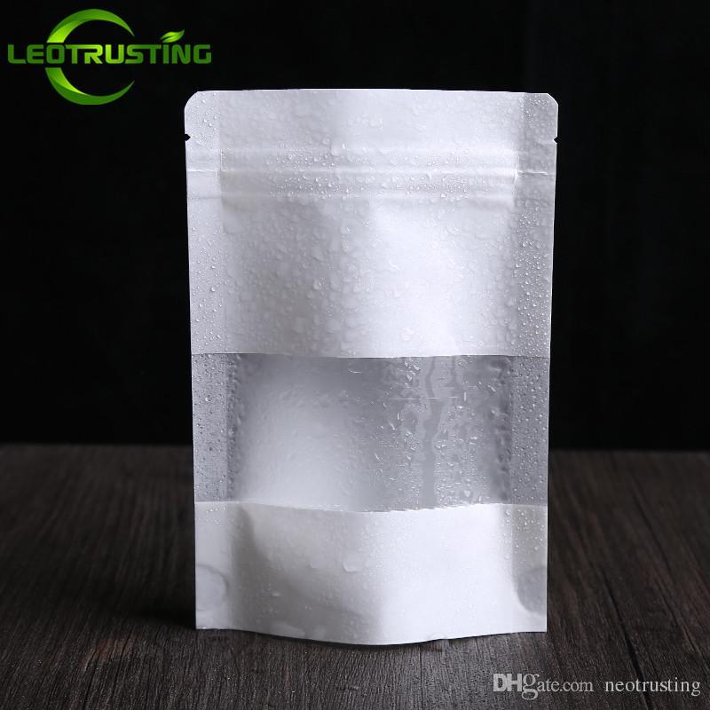 Leotrusting 50pcs / lot 두꺼운 Resealable 서 최대 백서 창 지 플락 포장 가방 비스킷 커피 가루 선물 종이 저장 가방