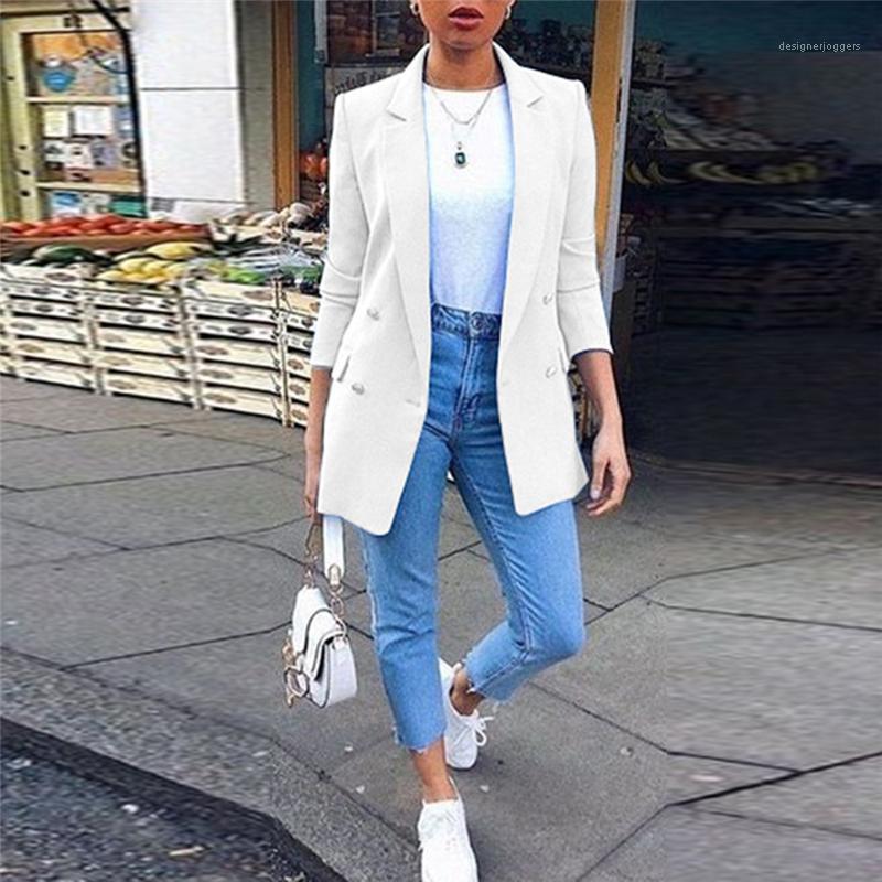 블레이저 라펠 목 디자이너 고체 숙녀복 패션 분기 소매 여성 의류에 포켓을 가진 여자 더블
