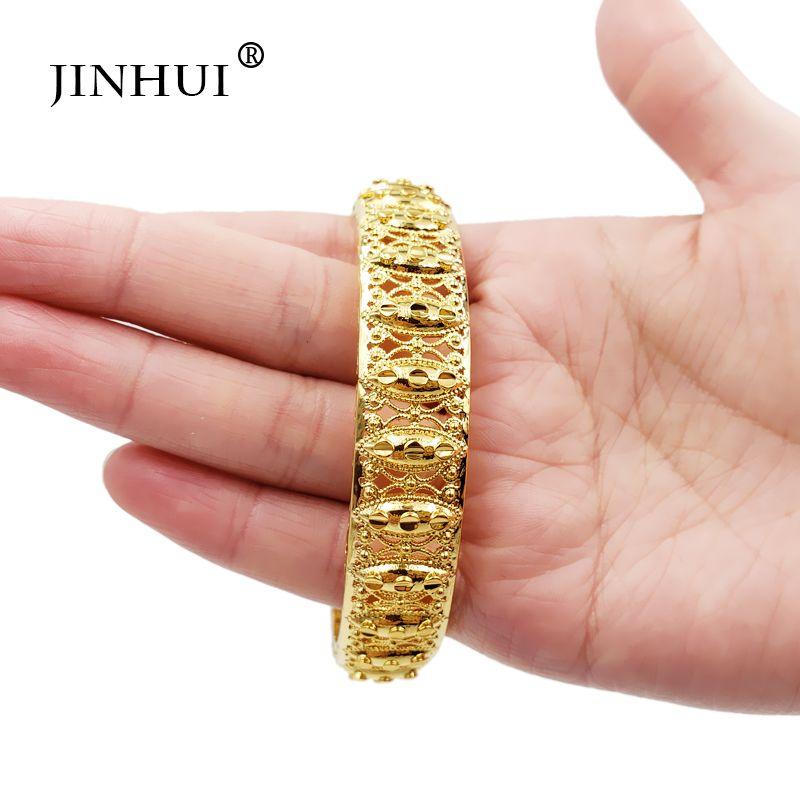 Jin Hui nuovo modo di colore dell'oro sposa Bangles per le donne sposa può aprire Bracciali etiope / Francia / Africa / Dubai gioielli regali