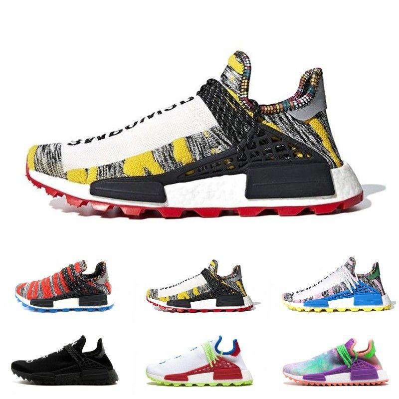 2019 El más nuevo Pharrell Williams Human Race hombre mujer Deportes Zapatillas de deporte Negro Blanco Gris Nmds primeknit PK runner Sneakers Tamaño 36-47