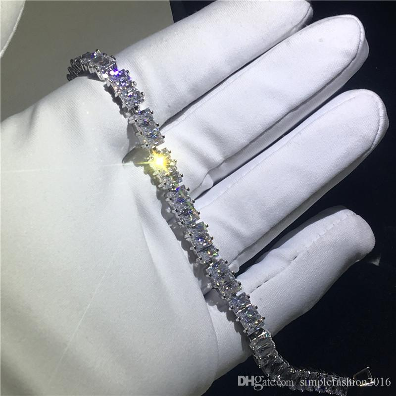 Tennis bracelet T shape 5A cubic zirconia White Gold Filled Engagement bracelets for women wedding accessaries