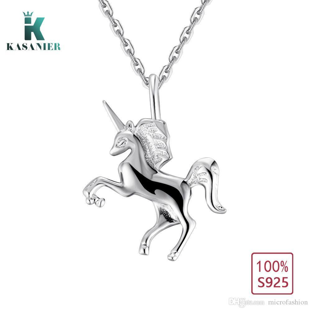 Kasanier 100% 925 Sterling Silber Frauen Halskette Fliegen Einhorn Figur Anhänger Freies Verschiffen Modeschmuck Fabrik Preis