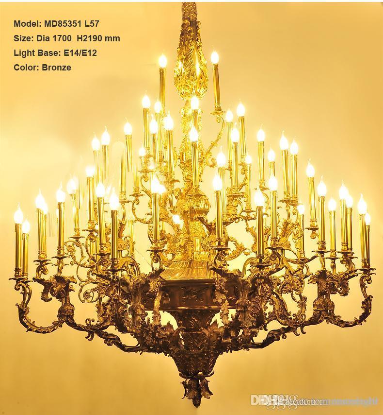Villa Otel Projesi Mum Armatür Aydınlatma MD85351 için Lamba Asma Lüks Bakır Avize Işık Armatür Vintage Lustres