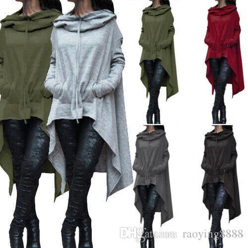 Womens Long Hoodie allentato tunica Top Pullover Felpa con cappuccio oversize