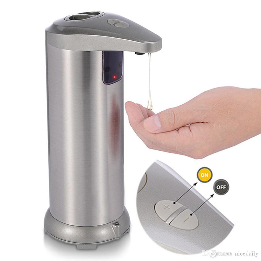 Touchless automatico, sensore di movimento infrarosso in acciaio inox liquido per stoviglie a mano libera automatica dell'erogatore del sapone per il bagno / Base impermeabile della cucina