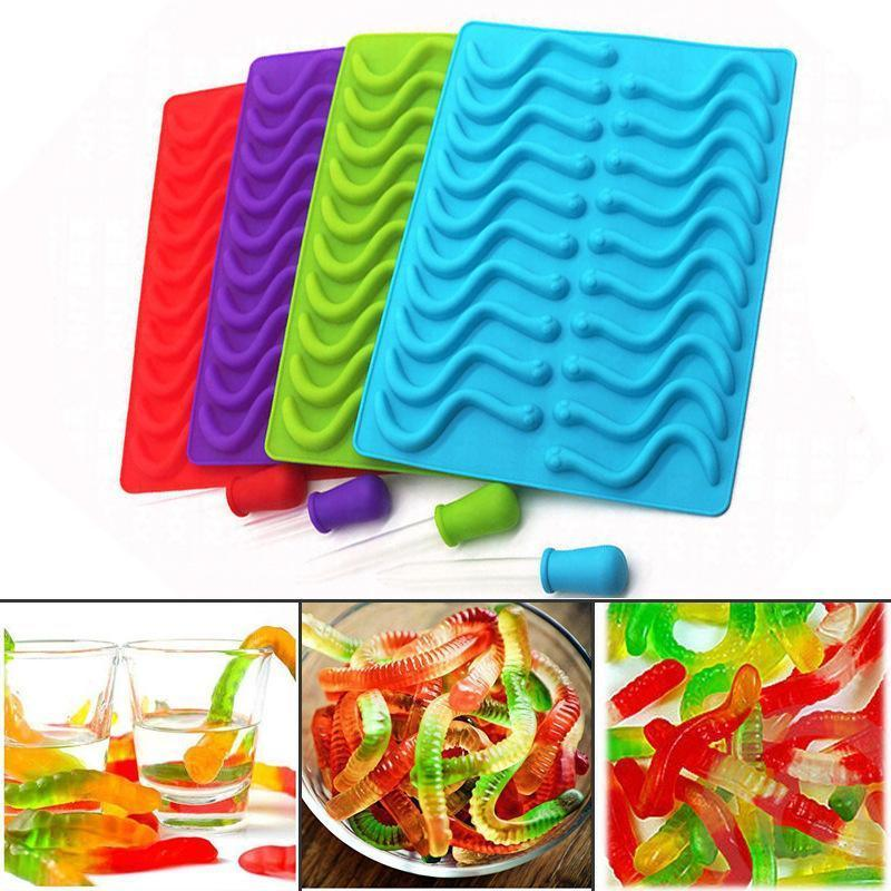 Home Creative Tier Silikon-Form-Wurm-Streifen Schokoladen-Süßigkeit-Karikatur-Form-Dining Küchenhelfer Zubehör Zubehör Moulds TTA532