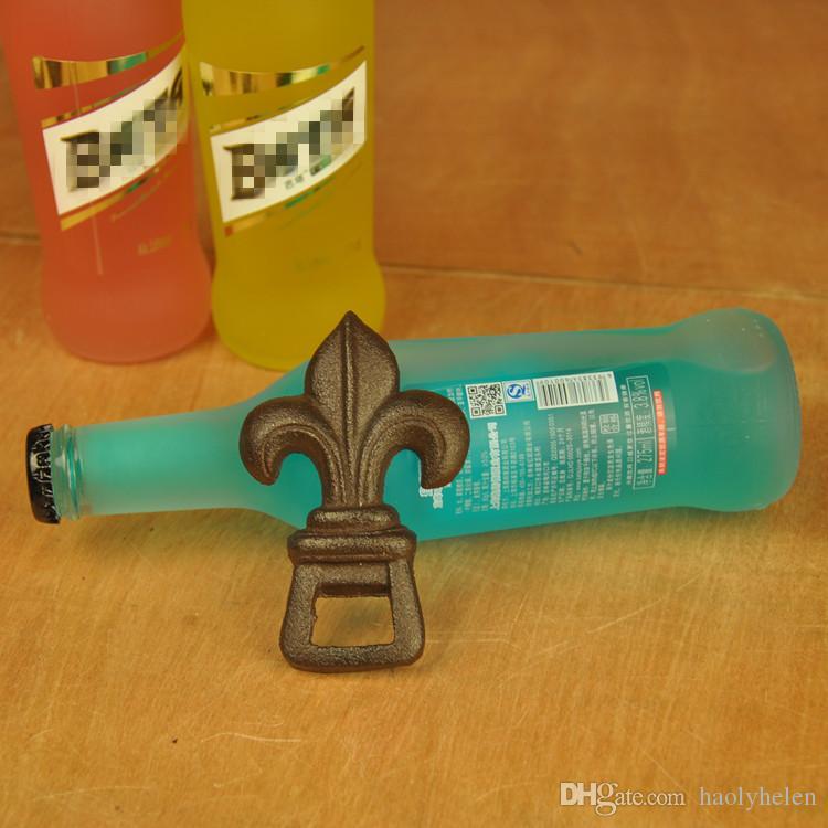 7 Pieces Rustic Cast Iron Fleur De Lis Bottle Opener Beer Soda Drinks Bar Pub Bartender Sports Room Handheld Vintage Antique Crafts Ornament