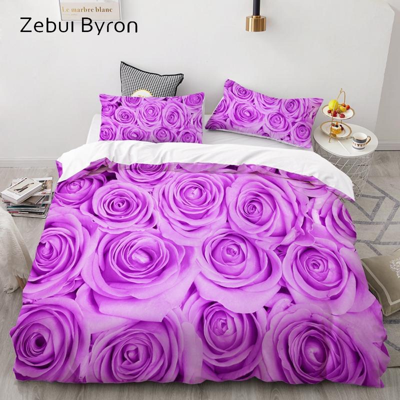 3D комплект постельного белья AU Custom / Европа, комплект пододеяльников США Queen / King, комплект стеганых одеял / одеял, постельное белье лиловая роза, корабль падения