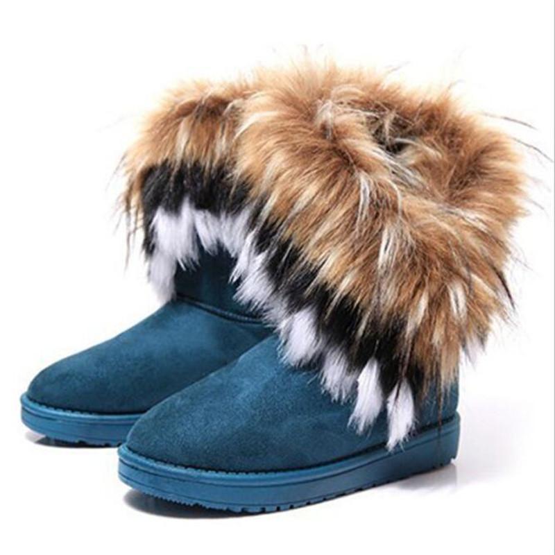 Schneeaufladungen der Frauen, große Kunstpelz Stiefeletten, beiläufige Schuhe der Frauen, große Quasten, arbeiten flache Schuhe Schuhe Damen