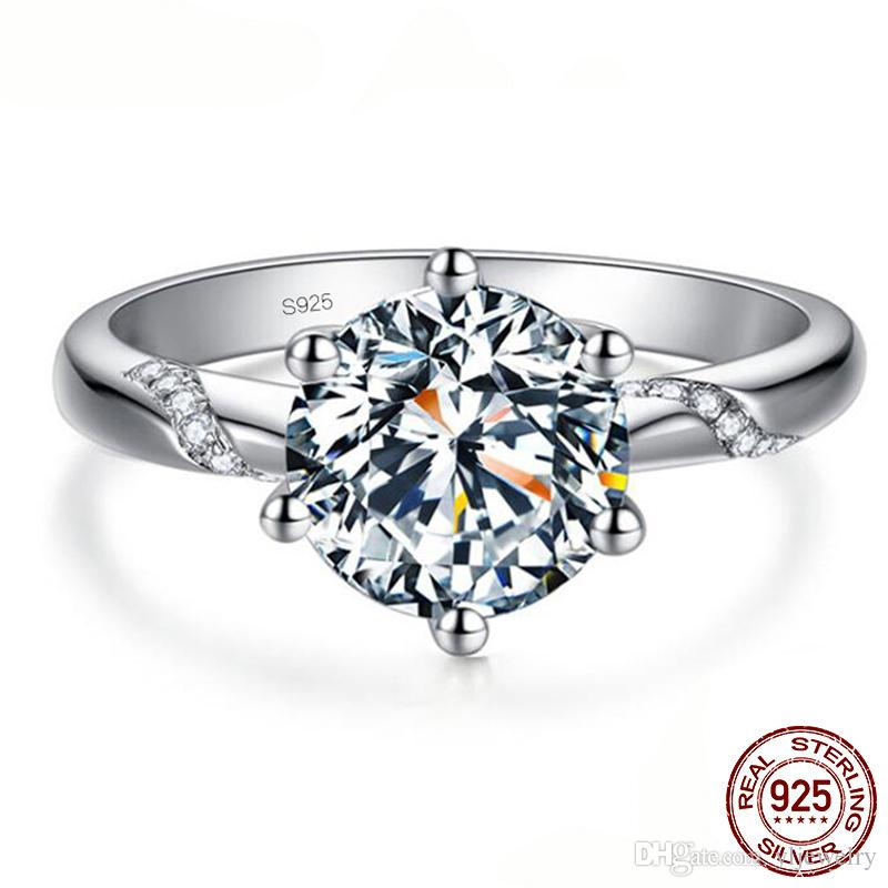 Fine Jewelry Original 100% Original 925 Solid Sterling Silver Ring Natural 1 Carat Diamant Stone Wedding Rings Gift For Women XR363