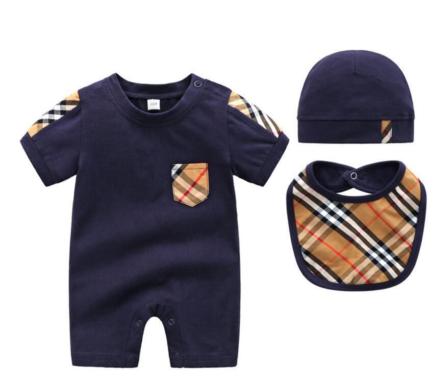 Bebé niño niña conjunto de ropa de algodón de dibujos animados de manga corta mameluco Newborn Jumpsuit + Hat + Bib Ropa de bebé recién nacido de tres piezas