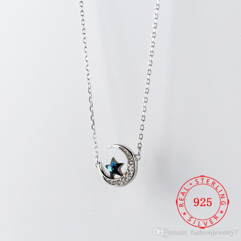 Hot new product 925 sterling silver fashion jewelry blue crystal crescent moon star pendant necklace for lady women
