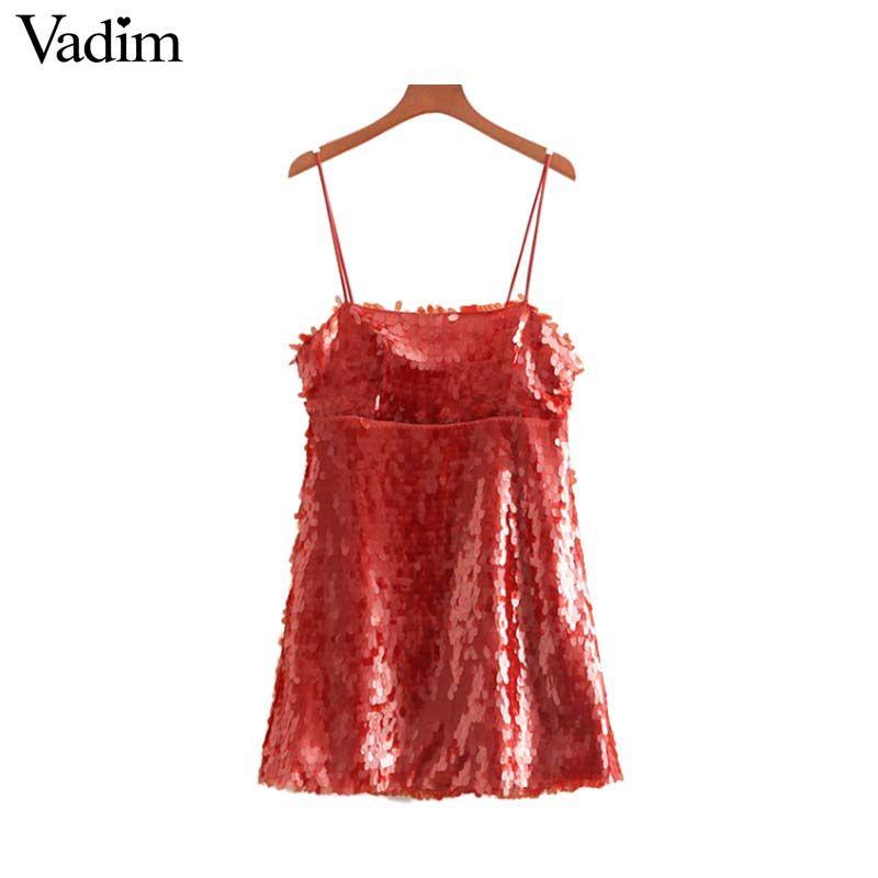 캐주얼 드레스 Vadim 여성 세련된 Sequined 레드 미니 파티 드레스 스파게티 스트랩 민소매 백리스 반짝이 슈즈 클럽 Vestidos QA870