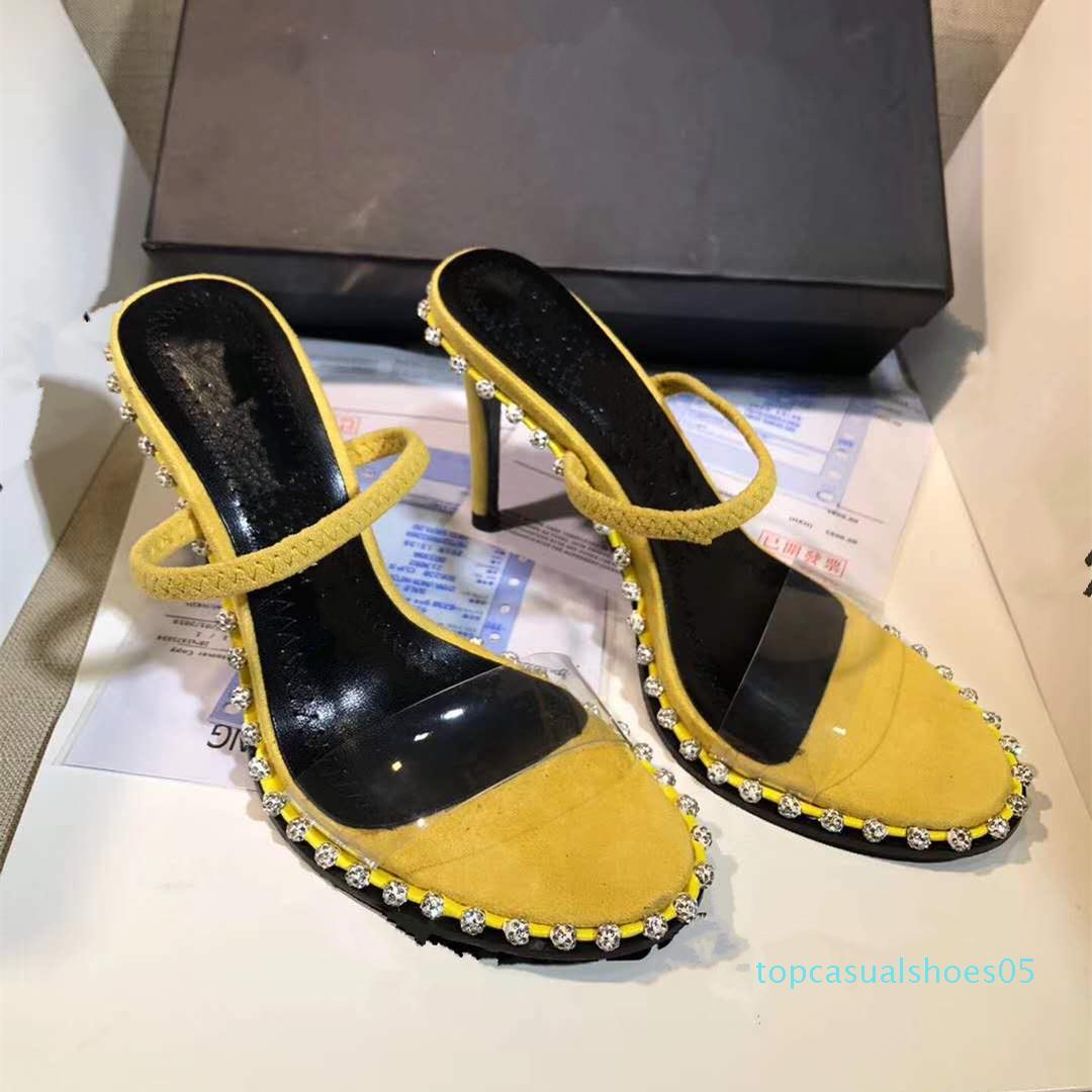 Nova kristal sandal lüks tasarımcı Sandals slingback 90mm yüksek topuklu 40 tradingbear t05 için ayakkabılar boyutu 34 elbise süslenmiş