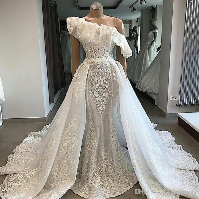2019 Luxury One Shoulder Lace Wedding Dresses With Detachable Court Train Applique Mermaid Bridal Couture Engagement Gowns