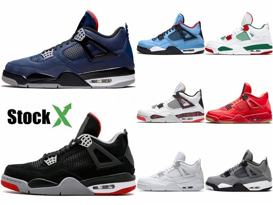 Retro grande Mens 4 Rush Violet Uomini scarpe da basket 2020 4S Bred cemento bianco pallido Citron Cactus Jack Sport sneakers 7Y-US13 # 581