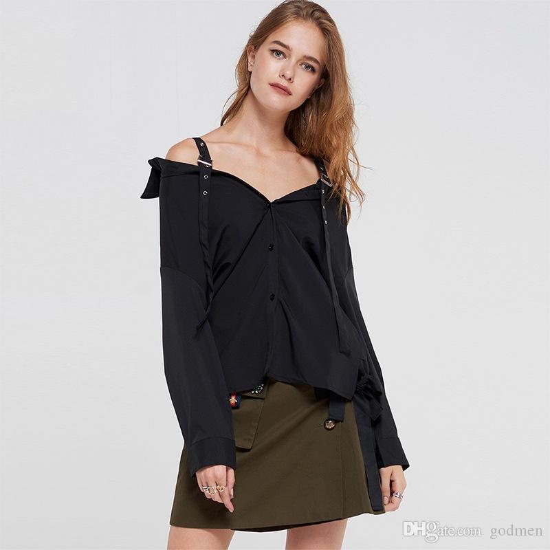 European And American Sexy Black Shoulder Strap Off-Shoulder Shirt V-Neck Loose Long-Sleeved Shircasual Women Desiger Long Blouse Size S-2Xl