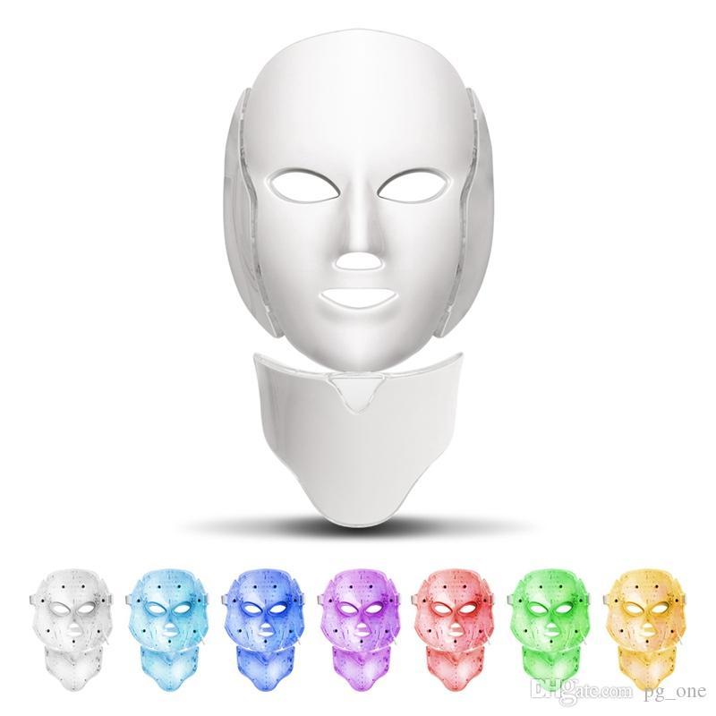PORTABLE PDT Light Therapy Masque facial LED avec 7 couleurs de photons pour le visage et le cou