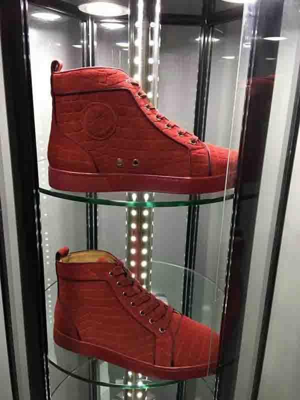 Fabrikverkauf Herren Schuhe Turnschuhe Red Suede Velvet Plain Sneakers Red Bottom Keine Spikes Wohnung hoch Cut-Straßen-Art-Leder-Männer Turnschuhe